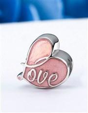 Sterling Silver 925 Heart Pink Enamel Love Charm