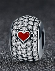 Sterling Silver 925 Pandora compatible charm, pave