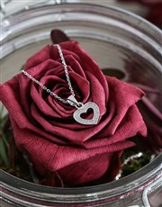 Silver Heart Set with Cubic Zirconia