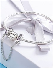 Sterling Silver Safety Chain, set with small heart