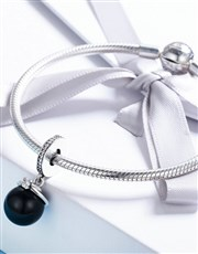 Sterling Silver Dangle Black Pearl with Cubic Ring
