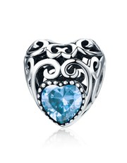 Sterling Silver  filigree Heart Shape Charm, set w