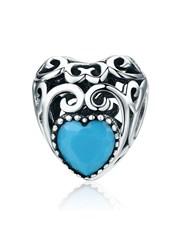 Sterling Silver  filigree Heart Shape Charm, set w