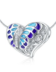 Sterling Silver Heart Shape Charm, With a filigree