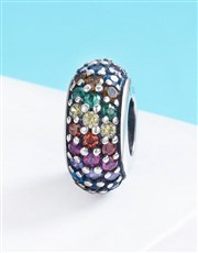 Sterling Silver Spacer Charm, pave set with multi