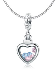 Sterling Silver Heart Shape Dangle Charm, with pas