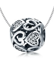 Sterling Silver Round Filigree Heart charm, pave s