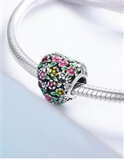 Sterling Silver Floral Filigree Heart Charm, with