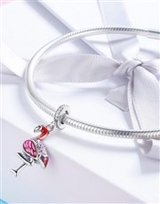 Sterling Silver Flamingo charm with Pink enamel de
