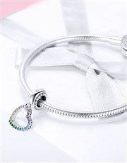 Sterling Silver open heart pave set with Colour Cu