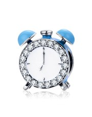 Sterling Silver clock and with blue cubic and cubi