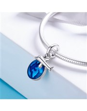 Sterling Silver dangle World with blue dangle and
