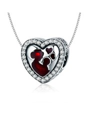 Sterling Silver heart with red enamel, mother and