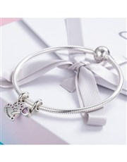 Sterling Silver 925 forever heart and key double c