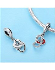 Sterling Silver dangle Open with red enamel interl