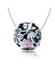 Sterling Silver 925 and pink enamel and cubic roun
