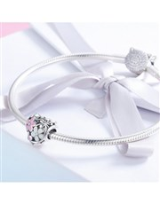 Sterling Silver pink enamel Floral heart cubic cha