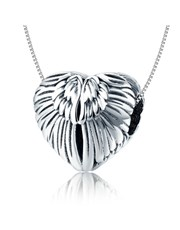 Sterling Silver heart Angel wing and cubic charm.