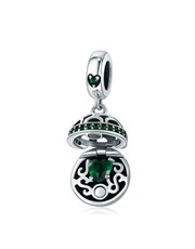 Sterling Silver filigree basket charm, set with a