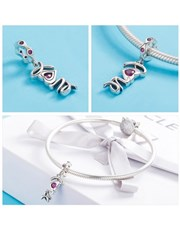 Sterling Silver love charm with red heart cubic zi
