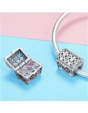 Sterling Silver treasure chest charm that can open