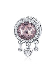 Sterling Silver rose glass charm, with small dangl