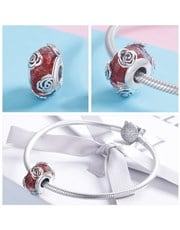 Sterling Silver red Murano glass charm, with silve