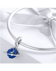 Sterling Silver blue Enamel galaxy and cubic charm