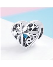 Sterling Silver filigree Heart with blue  cubic zi
