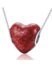 Sterling Silver 925 heart shape charm with red ena