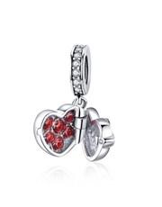 Sterling Silver heart shape cubic surprise charm.