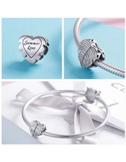 Sterling Silver heart shape feather design charm.