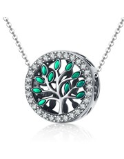 Sterling Silver round tree of life charm, with gre