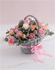 Mothers Day Radiant Roses Willow Basket
