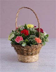 Carnation Wicker Basket