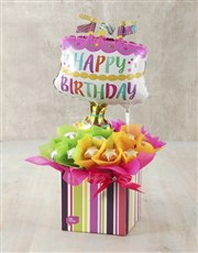 Happy Birthday Cake Edible Arrangement
