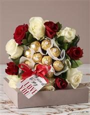 Romantic Rose and Choc Edible Arrangement