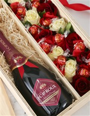 Personalised Champagne and Roses Crate