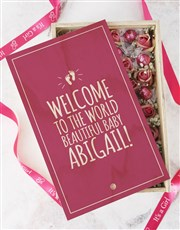 Personalised Welcome Baby Girl Crate