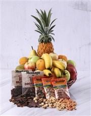 Our fresh fruit and biltong gift basket assortment