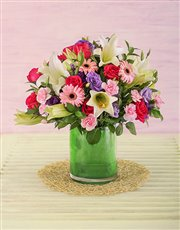 Mixed Pink and Mauve Flower Arrangement