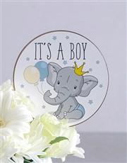 Baby Boy Square Vase