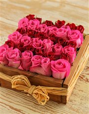 Pink & Red Roses in a Wooden Box