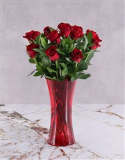 Buy this special of 12 Red Roses in a red vase, an