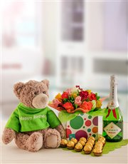 Send this gift of a soft teddy, mixed flowers, JC