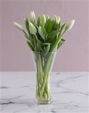 White Tulips in Tall Flair Vase