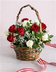 Basket of Radiant Roses