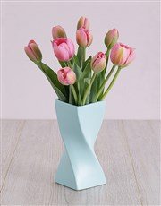 Pink Tulips in Blue Twist Vase