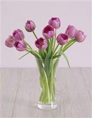 Purple Tulips in Flair Vase