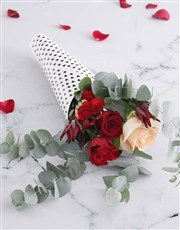 Heart Wrapped Red Rose Bouquet